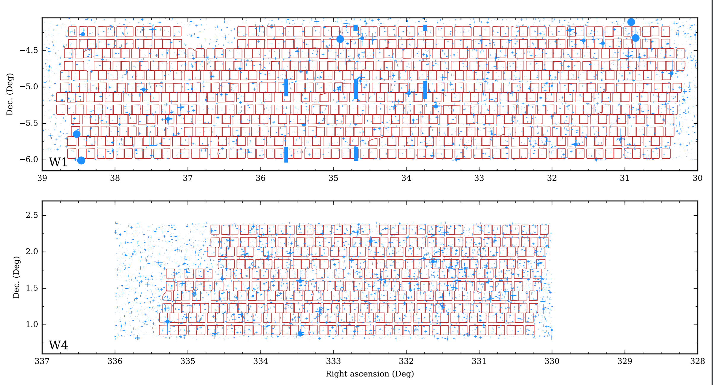 The layout on the sky of all pointings that  contribute to the PDR-2 final release, for the two fields W1 and W4, superimposed on the photometric survey mask. The contours of each of the four quadrants that comprise all VIMOS pointings are shown in red. The blue (grey) areas in the background correspond to areas where the parent photometry is corrupted or observations are not possible due to the presence of foreground objects, particularly bright stars and their diffraction spikes.